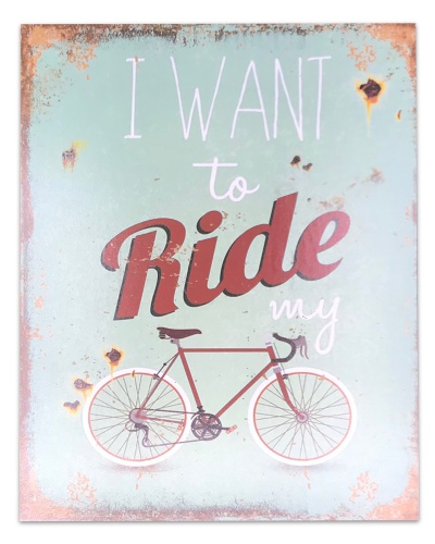 I want to ride my bicycle - metalen plaat